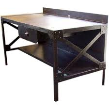 Early 20thC French Industrial Steel Tall Desk For Sale