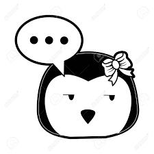 ペンギン側の目とチャット バブルかわいい動物漫画アイコン画像ベクトル イラスト デザイン黒と白