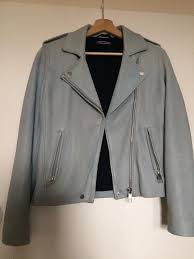 tommy hilfiger real leather jacket xs blue