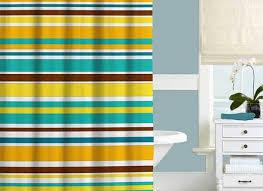 colorful striped shower curtain set bath mat yellow
