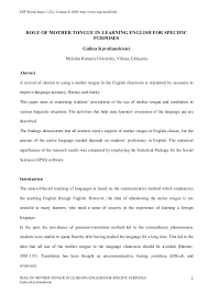 essay about mother tongue co role of mother tongue in learning english for specific purposes