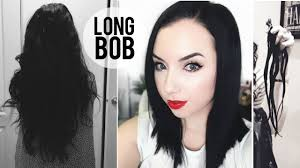 How I Dye My Hair Blue Black New Cut Long Bob Haircut Youtube