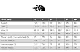 Spain The North Face Clothing Size Chart 4413c Cfc10