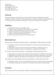 Resume Templates: Document Control Clerk