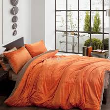 solid two color orange and brown velvet queen king size duvet covers