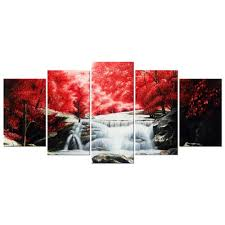 Amazon.com: Wieco Art Red Forest Waterfalls 5 Piece Modern Wrapped Giclee  Canvas Prints Artwork Landscape Tree Oil Paintings Reproduction Pictures on  Canvas ...