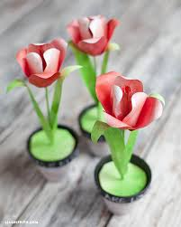 Paper Flower Print Out Paper Tulips With A Watercolor Print