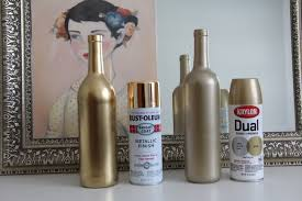 gold painted wine bottles | DIY Gold Spray Painted Bottles