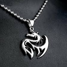 punk men s silver titanium stainless steel dragon pendant necklace jewelry