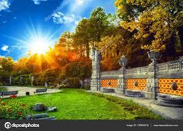緑豊かな公園夏のシーズン明るい日光と影おしゃれ ストック写真