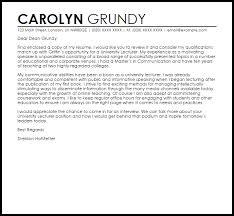 Cover Letter To University University Lecturer Cover Letter Sample Cover Letter