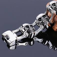 whole jewelry charms men snless steel bracelet 316l heavy biker jewelry men skull bracelet whole