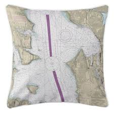 Wa Seattle Wa Nautical Chart Pillow Island Girl Home