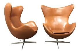 leather club chairs vintage. Arne Jacobsen For Fritz Hansen Egg Chairs - A Pair Leather Club Vintage