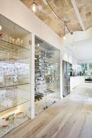 Glass Wine Room Design Glass Wine Cellar River Rock Floors Light Wood Floors
