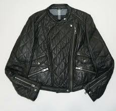 burberry brit black lambskin leather quilted moto biker jacket