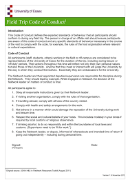 Field Trip Code Of Conduct[1] Introduction This Code Of Conduct