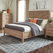 Scott Living White Washed Natural Panel Bed. Multiple Sizes