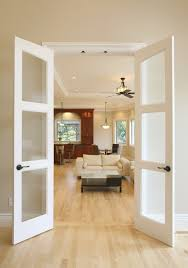 small interior french doors with frosted glass