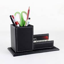 wood structure leather desk pen box with name card holder office stationery accessories organizer desk top