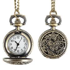 dropwow fashion women quartz pocket watch alloy hollow out erflies vintage sweater chain necklace pendant clock gifts ll 17