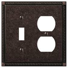 georgian tumbled aged bronze cast 1 toggle 1 duplex wall plate traditional switch plates and covers by amertac