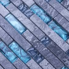 grey stone blue glass mosaic tile wall stickers n008