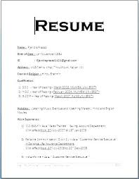 Job Application Resume Format