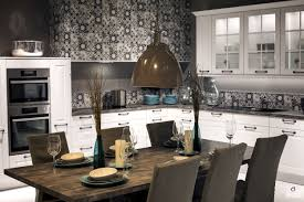 white rustic dining table. Full Size Of Dining Room: Black White Pattern Kitchen Wallpaper Brown Pendant Lights 6 Rustic Table