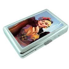 details about metal silver cigarette case holder box pin up design 019
