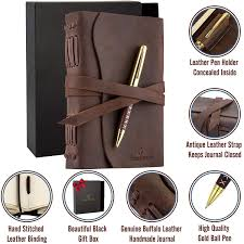 leather journal bound notebook for men women luxury gift set for