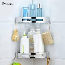 adhesive no drilling triangle baskets stainless steel bathroom corner shower shelf storage rack wall shelves without