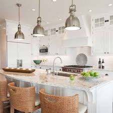 kitchen best cone stainless steel pendant lighting kitchen design ideas with white frosted kitchen islandcountertop and brown rattan chair and simple
