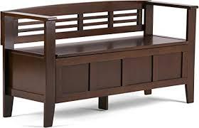Simpli Home Adams <b>Solid</b> Wood Entryway <b>Storage Bench</b>, Medium ...