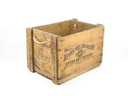 Wooden Crate With Handles Vintage Wooden Crate Wood Box Rope Handles Republic Steel Corp