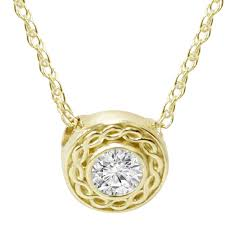 1 1 10 ct solitaire round diamond braided pendant 14k yellow gold 6mm small 0