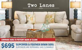 two lanes slip cover sofa