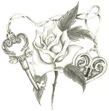 lock and key drawing. Exellent And Heart Lock Skeleton Key Rose By Holliewood1391 In Lock And Key Drawing