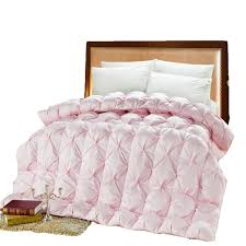 2019 double bed goose down comforter pink white duck feather thick quilt uk super king size thick warm duvet comforter for winter from shuishu