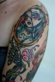 hand holding mirror tattoo. Fine Mirror Broken Mirror Skeleton Hand Lady Portrait Tattoo On Hand Holding Mirror Tattoo X