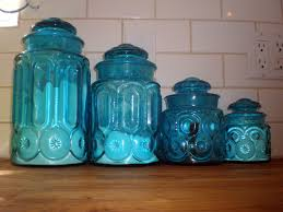 state martha stewart collection kitchen blue glass canisterset blue kitchen canisters vintage blue glass canister set