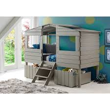 donco kids loft bed. Wonderful Loft Donco Kids Rustic Grey Finished Pine Wood Twin Tree House Loft Bed With  Underbed In M