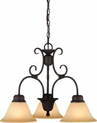 troy 3 light antique bronze chandelier