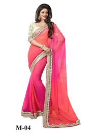 Buy Fabboom Pink And Orange Combination Beautiful Saree Online in India at  cooliyo : coolest products in India, hand-picked for you