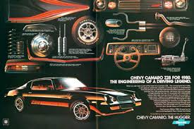 chevy camaro z original vintage advertisement the  the liter engine heavy duty anti sway bars cast aluminum wheels front and rear spoilers dual exhaust and air induction hood scoop