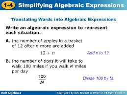 translating words into algebraic expressions ppt
