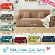 Slipcover Price Chart Polar Fleece Slipcover Sofa Solid Color Couch Cover Elastic Full Sofa Cover 1 2 3 4 Seater Stretch Pillow Case Chair Covers Dining Chair Covers For