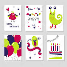 Birthday Cards Design For Kids Set Of Birthday Cards Templates Cute Cartoon Monsters Kids