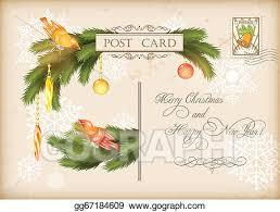 Retro Holidays Vector Clipart Christmas Vintage Holiday Vector Postcard Vector