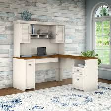 white l shaped desk with hutch. Unique Hutch Bush Furniture Fairview L Shaped Desk With Hutch In Antique White With A